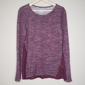 Lucky Brand Burgundy Marled Mixed Media Sweater XS
